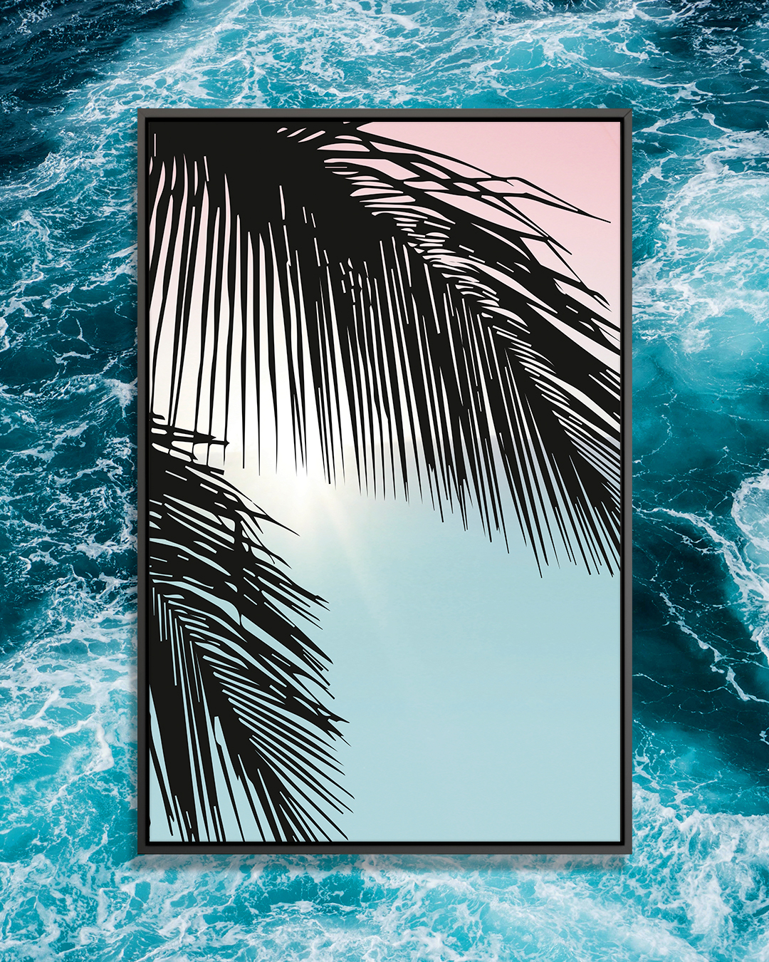 """""""Aloha"""" by Amy & Kurt Berlin shows black palm leaves in front of a blue and pink background."""