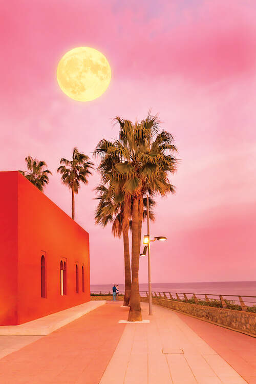 """""""Super Moon"""" by Beli shows palm trees next to a red building under a yellow super moon and pink sky."""