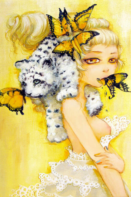 """Bad Madeline"" by Camilla d'Errico shows a topless woman with yellow butterflies in her hair and mouth while a snow leopard rests over her shoulders."