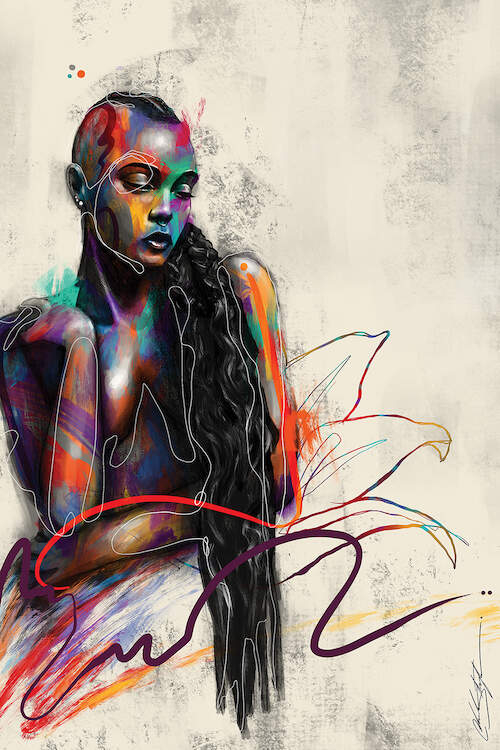 """""""Beautifully Colored"""" by Chuck Styles shows a portrait of a topless woman with long black hair and colorful paint strokes across her body."""
