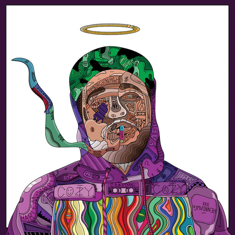 """""""Comfort"""" by Edo shows a colorful portrait of rapper ASAP Yams comprised of various shapes and symbols."""