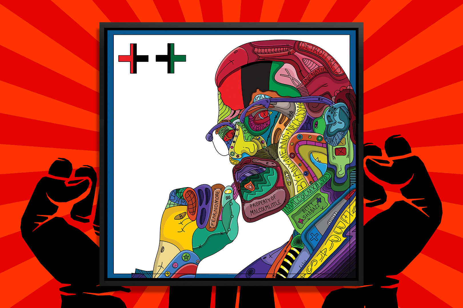 """""""Detroit Red"""" by Edo shows a colorful portrait of human rights activist Malcolm X comprised of various shapes and symbols."""