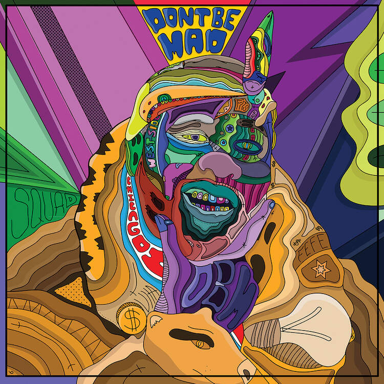 """""""Don't Bother Me"""" by Edo shows a colorful portrait of 'Fat Tiger Workshop' owner Joe Freshgoods comprised of various shapes and symbols."""