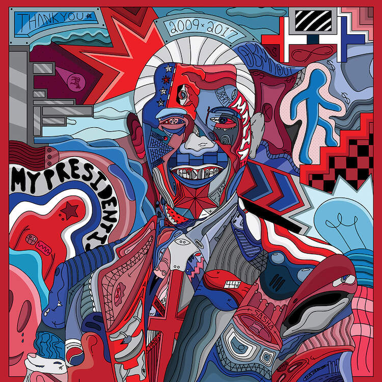 """""""Forever More"""" by Edo shows a colorful portrait of former president Barack Obama comprised of various shapes and symbols."""