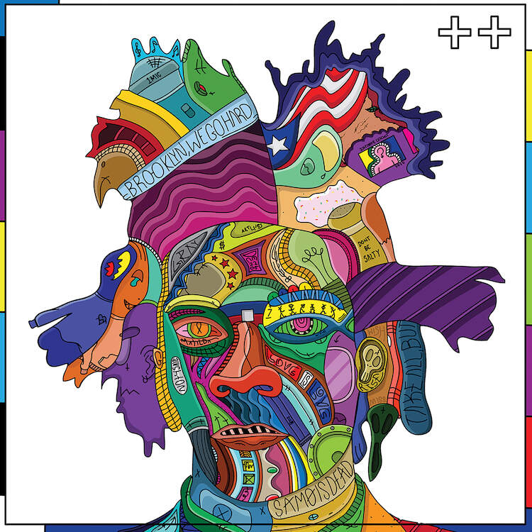 """""""Forgiveness"""" by Edo shows a colorful portrait of artist Jean-Michel Basquiat comprised of various shapes and symbols."""