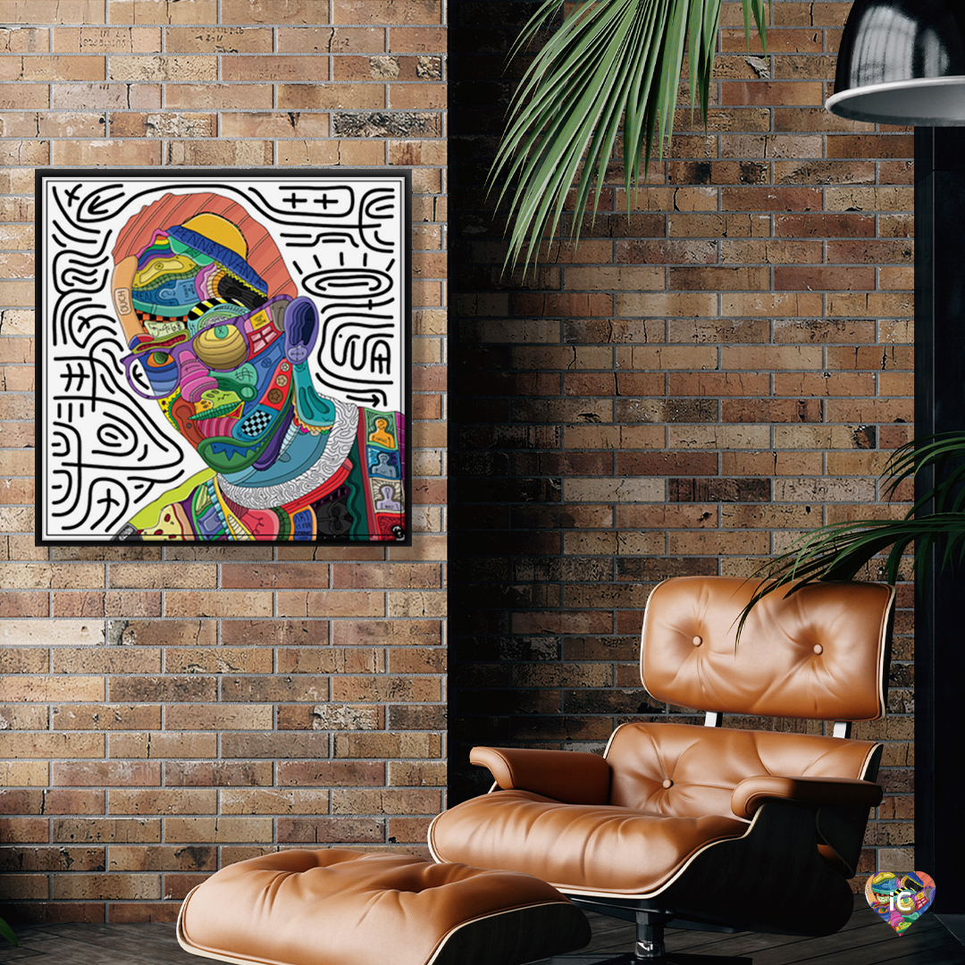 """""""Hurt"""" by Edo shows a colorful portrait of artist Keith Haring comprised of various shapes and symbols."""