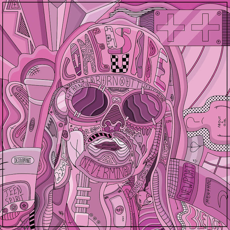 """""""Sad And Upset"""" by Edo shows a pink portrait of American singer Kurt Cobain comprised of various shapes and symbols."""