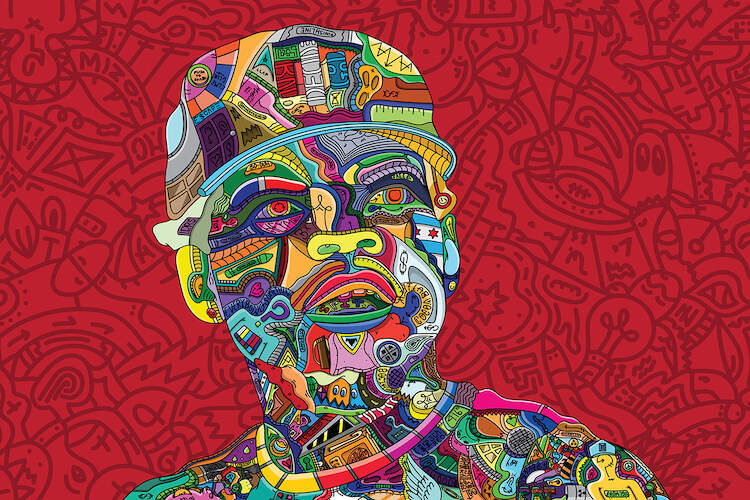 """""""The Blessings I'm Allowed To See"""" by Edo shows a colorful portrait of musician Chance the Rapper comprised of various shapes and symbols."""