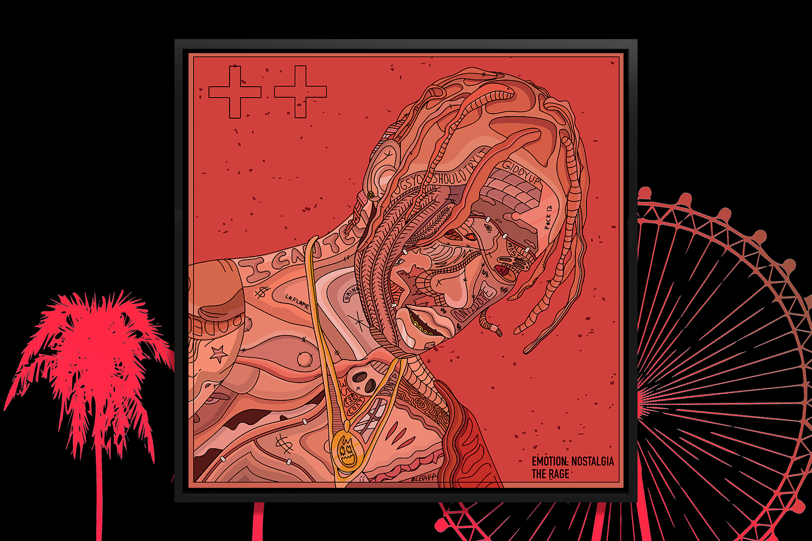 """""""The Rage"""" by Edo shows a red portrait of musician Travis Scott comprised of various shapes and symbols."""