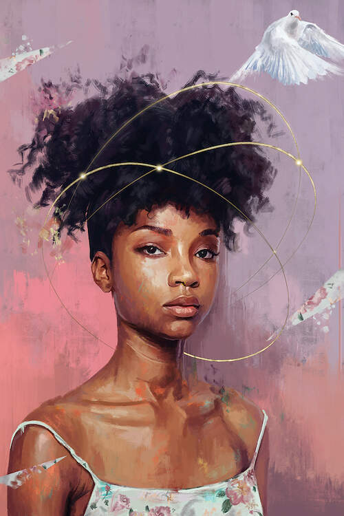 """""""Hope Girl"""" by El'Cesart shows the profile of a woman with a curly updo featuring beams of light and a dove circling around her head."""