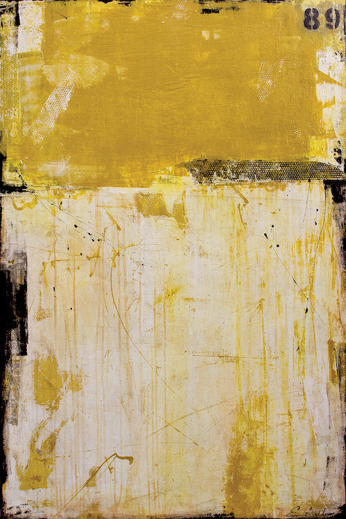 """89 South"" by Erin Ashley shows yellow scratch-like figures on a white background. This print can bring a dose of texture and industrial vibes to any space."