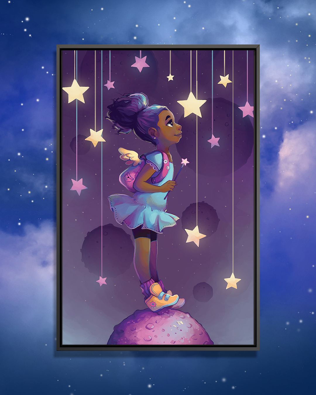 """""""Reach For The Stars"""" by Geneva B shows a little girl standing on a purple rock in a purple sky while gazing into the stars surrounding her."""