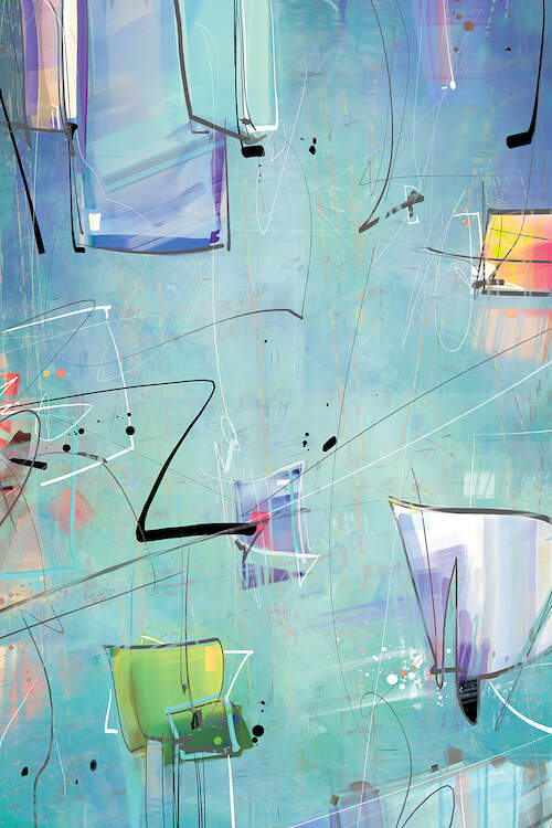"""""""Atoll"""" by Guillermo Arismendi shows a blue background with black scribbles and purple, orange, and green squares"""
