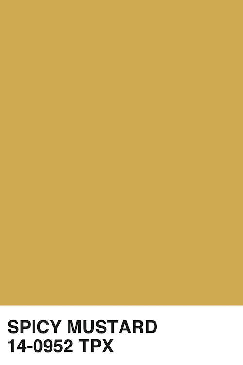 """Spicy Mustard 14-0952 TPX"" by Honeymoon Hotel shows a yellow Pantone strip of the color spicy mustard."