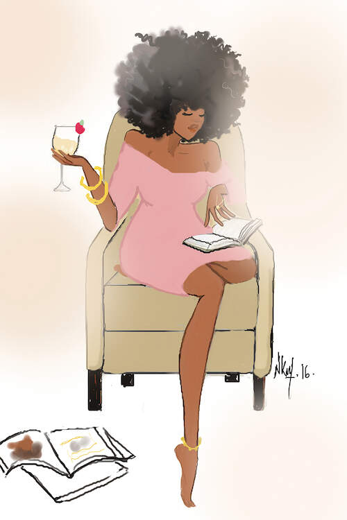 """""""Sunday Night II"""" by Nicholle Kobi shows a woman in an off-shoulder pink dress holding a cocktail while sitting in a chair and reading a book."""
