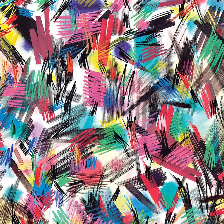 """""""Wild Strokes Colorful"""" by Ninola Design shows colorful paint strokes featuring zigzag lines."""