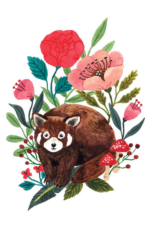 A watercolor illustration of a brown bear with white circles around his eyes and cheeks under flowers, berries and mushrooms