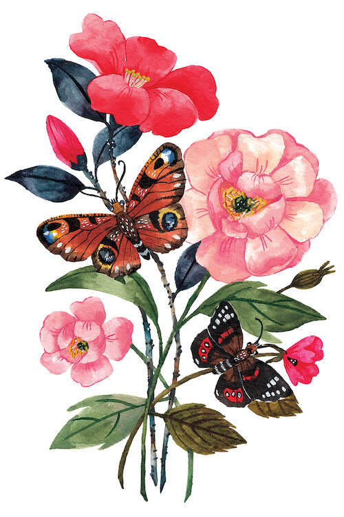 A watercolor illustration of two butterflies on the branches of pink and red flowers