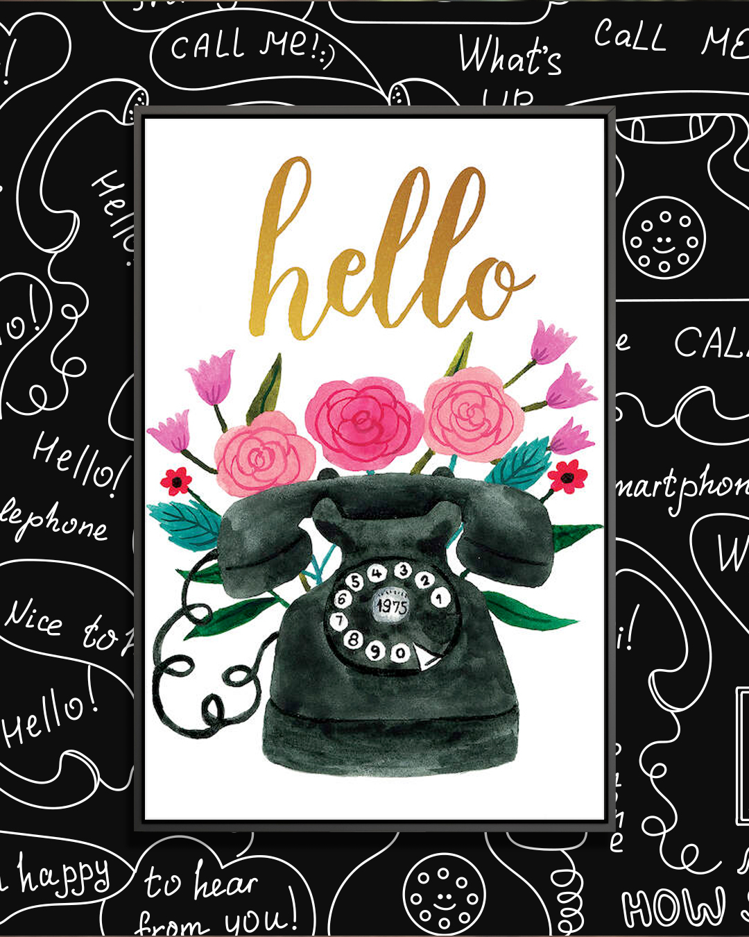 """Watercolor illustration of a vintage black telephone with pink flowers and the word """"hello"""" on top of it"""