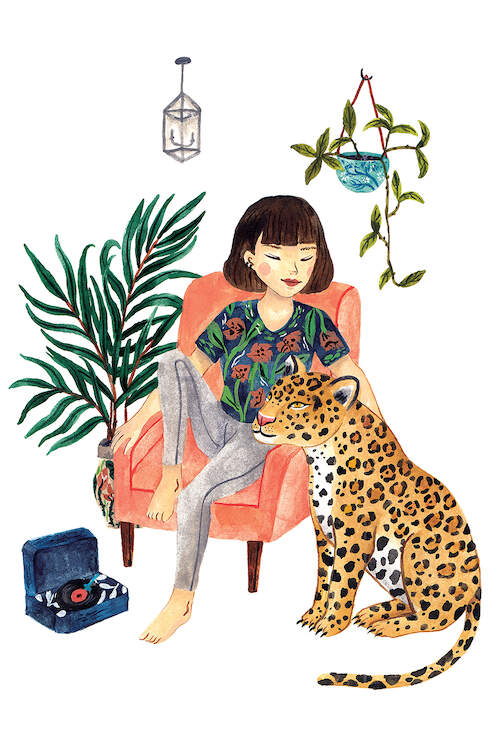 Watercolor illustration of a girl with short brown hair wearing a floral tee and gray pants sitting in a pink armchair next to house plants, a vinyl record player, and a jaguar