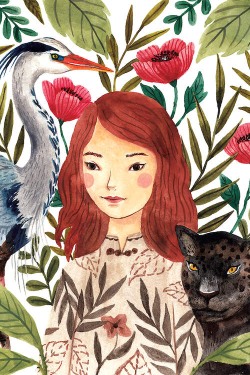 Watercolor illustration of a girl with medium-length red hair and rosy cheeks wearing a floral shirt next to a white and blue heron and a black jungle cat with botanicals in the background