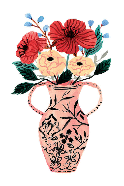Watercolor illustration of a pink vase with two handles and black leaves painted on it and yellow and red flowers inside of it