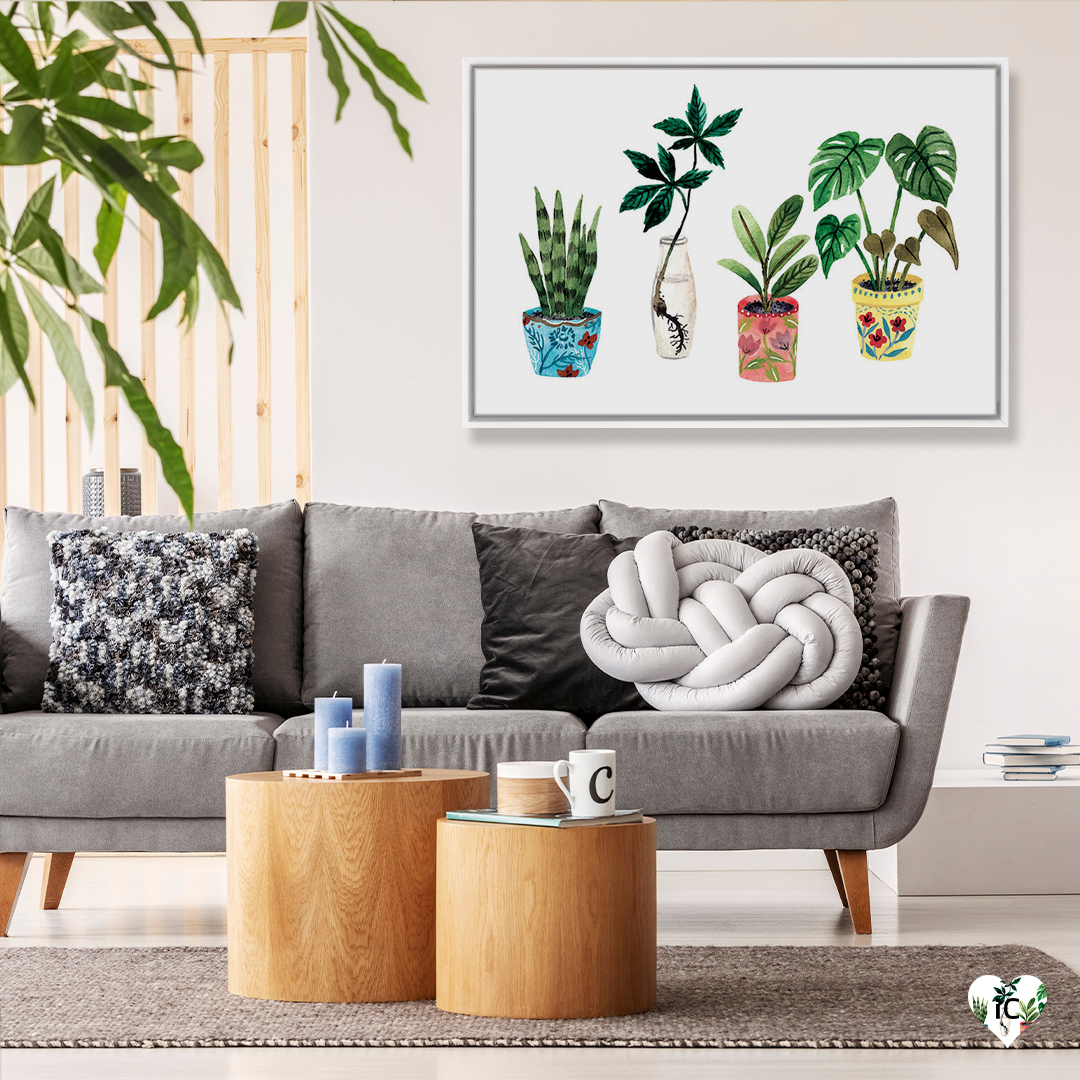 Watercolor illustration of various plants such as a snake plant and philodendron in colorful pots framed on a wall in a living room with a gray couch, black and white throw pillows, and wood coffee tables with candles and coffee mugs on them