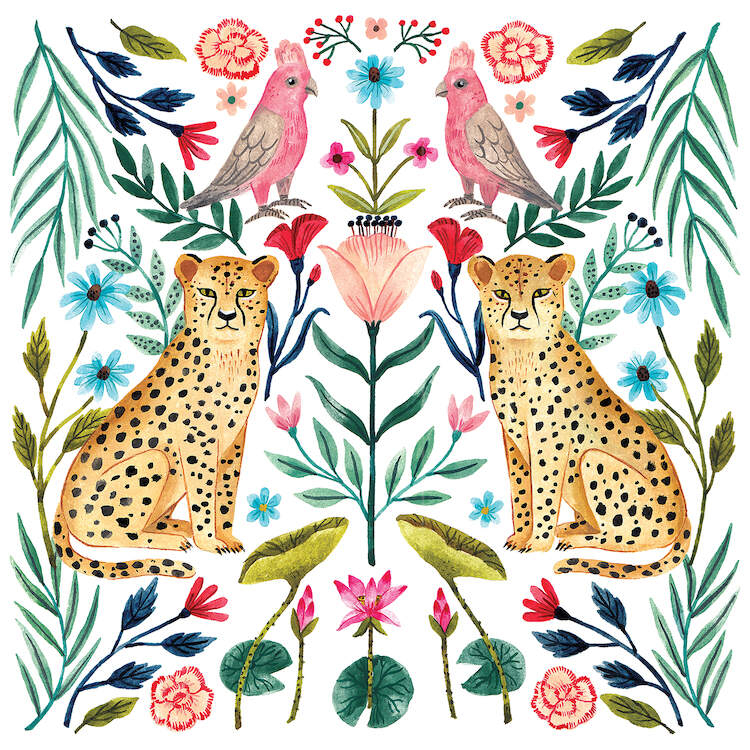 Symmetrical watercolor pattern of two jaguars, two pink tropical birds, and colorful botanical leaves and flowers