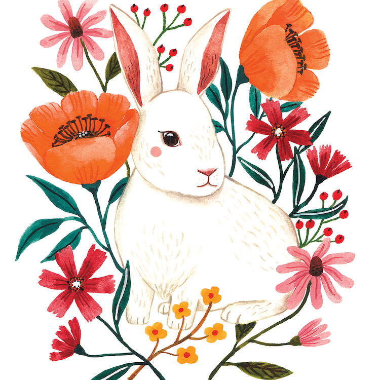 Watercolor illustration of a white rabbit with rosy cheeks next to orange, pink, red and yellow flowers