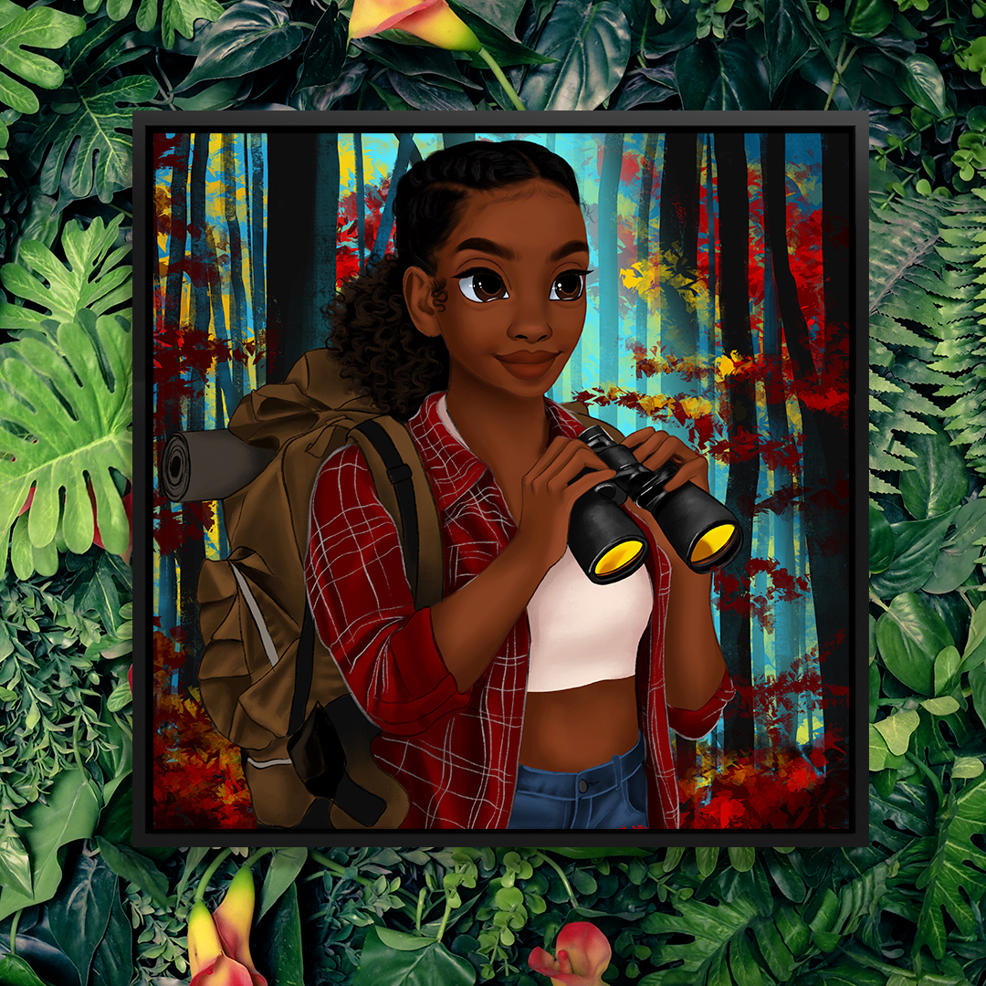 """""""Explorer"""" by Princess Karibo shows a woman holding binoculars and wearing a backpack while standing in a forest filled with red and yellow leaves."""