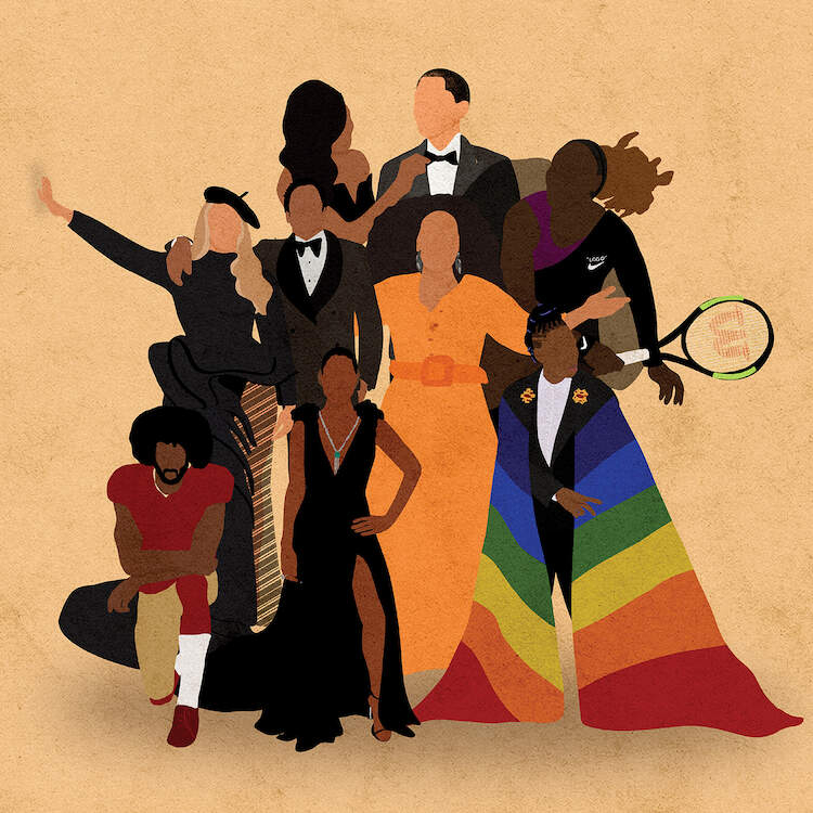 Illustration of a group of famous African American icons, such as Barack and Michelle Obama, Beyonce and Jay-Z, Serena Williams, and Colin Kaepernick