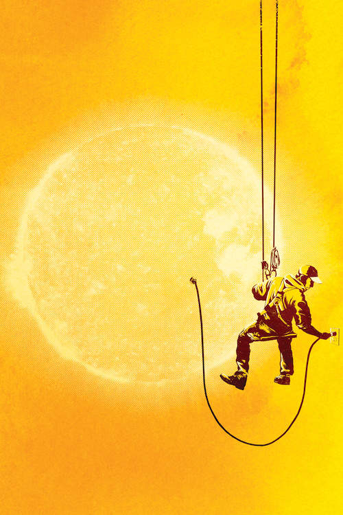 """Forever Longing"" by Rob Dobi shows a man plugging in a glowing yellow sun into a nearby outlet."
