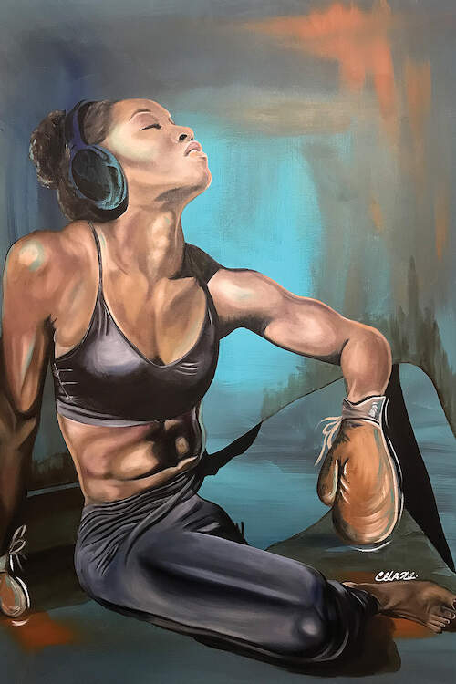 """""""Tianna"""" by Stina Aleah shows American track-star Tianna Bartoletta in a sports bra, boxing gloves, and headphones."""