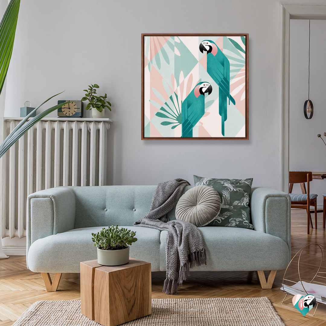 """""""Macaw"""" by WAAW Studio shows two teal macaws against a patterned pink and blue background."""