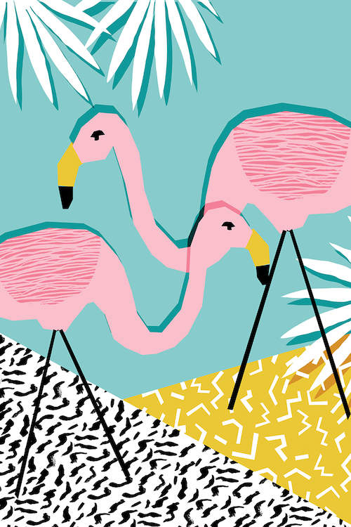 """""""Bro"""" by Wacka Design shows two pink flamingos standing on a white and yellow floor with a teal background."""