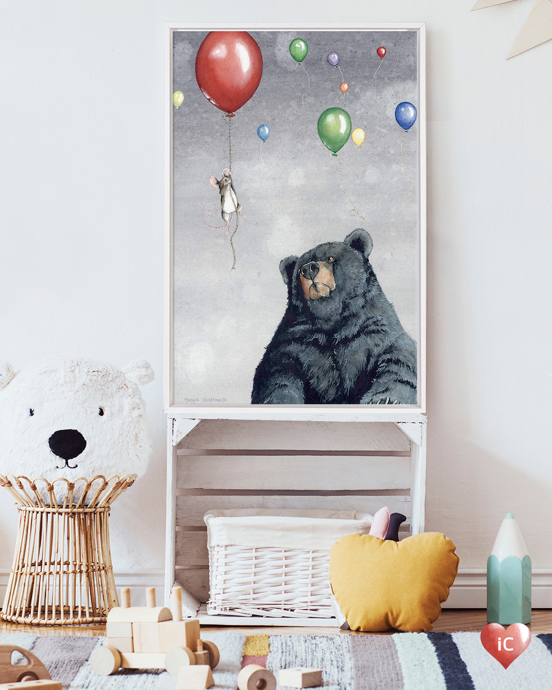 Illustration of a black bear looking at a brown mouse hanging onto a red balloon that's floating into a gray sky with other colorful balloons.
