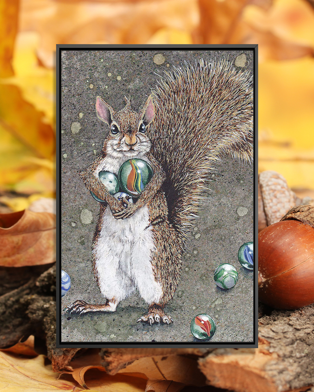 """Totally Marbles"" by Maggie Vandewalle shows a smiling squirrel holding marbles."