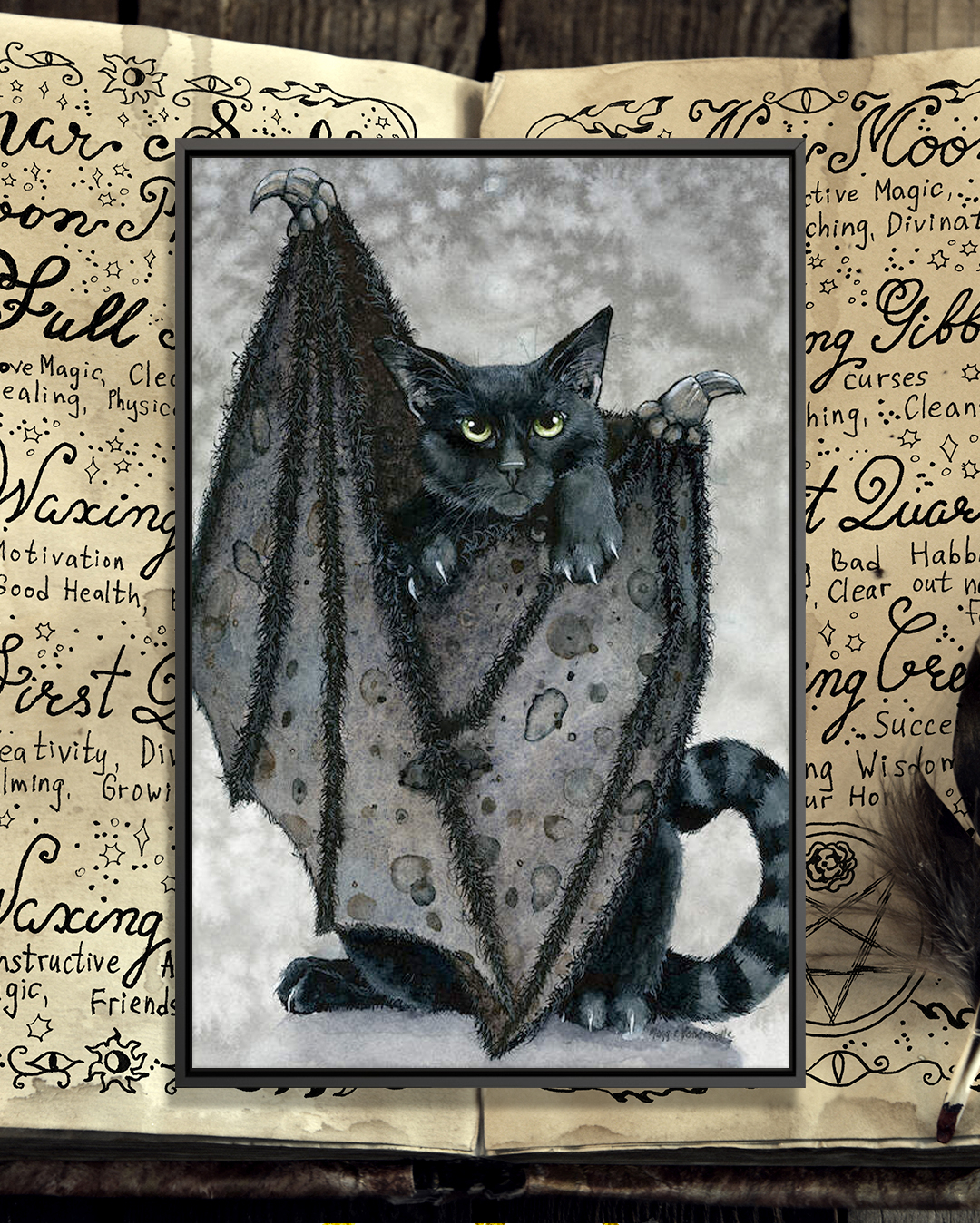 """Furling"" by Maggie Vandewalle shows a black cat with black bat wings and green eyes."