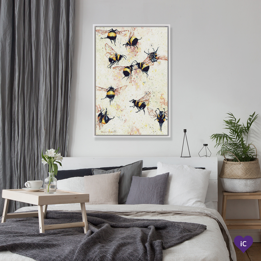 """Fermented"" by Maggie Vandewalle shows ten bumblebees in flight against a honeycomb background."