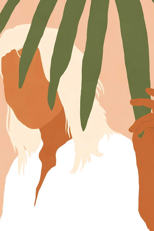 """""""Musafir"""" by 83 Oranges shows a faceless woman with white-blonde hair wearing a white shirt while holding onto a green leaf."""