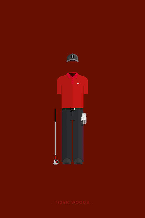 Minimalist poster of the outline of Tiger Woods and a golf club against a dark red background