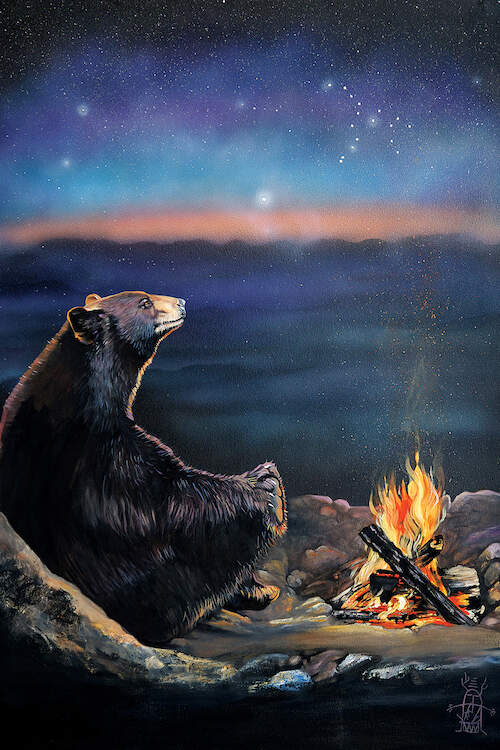 Image of a large black bear sitting next to a campfire at night under a starry sky