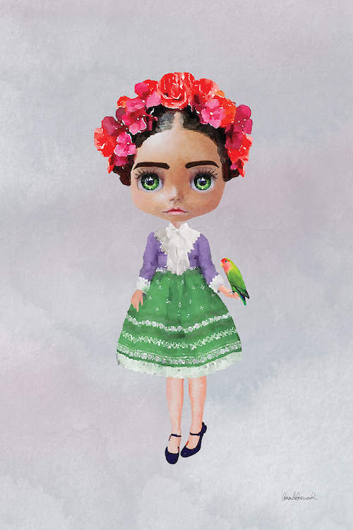 Image of Frida Kahlo depicted as a doll with big green eyes wearing a red and pink flower crown and a green skirt holding a sun conure on her hand