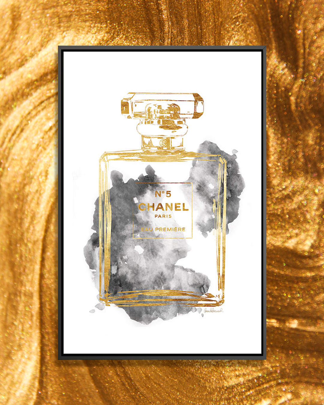 """""""Perfume Bottle, Gold & Grey"""" by Amanda Greenwood shows a No. 5 Chanel perfume bottle in gold with gray cloud-like figures behind it."""