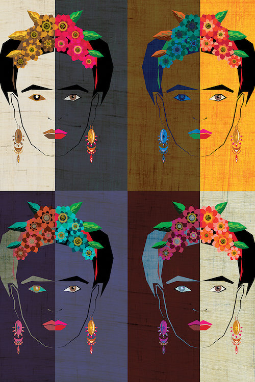 Four-part illustration of Frida Kahlo's face in multiple colors and textures