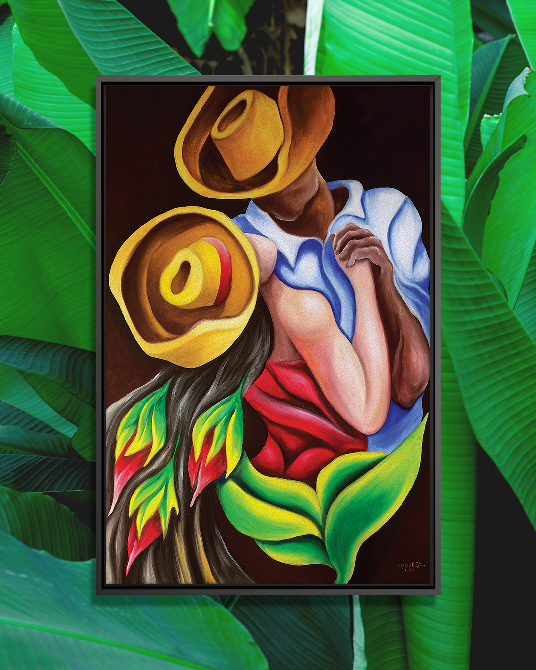 """""""Dancing"""" by Dixie Miguez shows a faceless man and woman wearing hats and holding hands while dancing."""