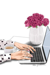 """""""Boss Lady"""" by Elza Fouché shows a woman's hands typing on her laptop featuring a cup of coffee and a vase of flowers on her desk."""