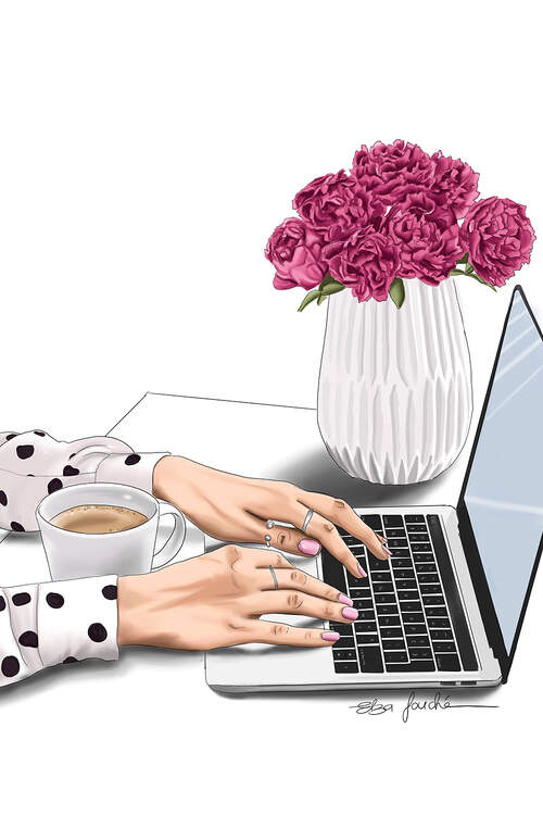 """Boss Lady"" by Elza Fouché shows a woman's hands typing on her laptop featuring a cup of coffee and a vase of flowers on her desk."