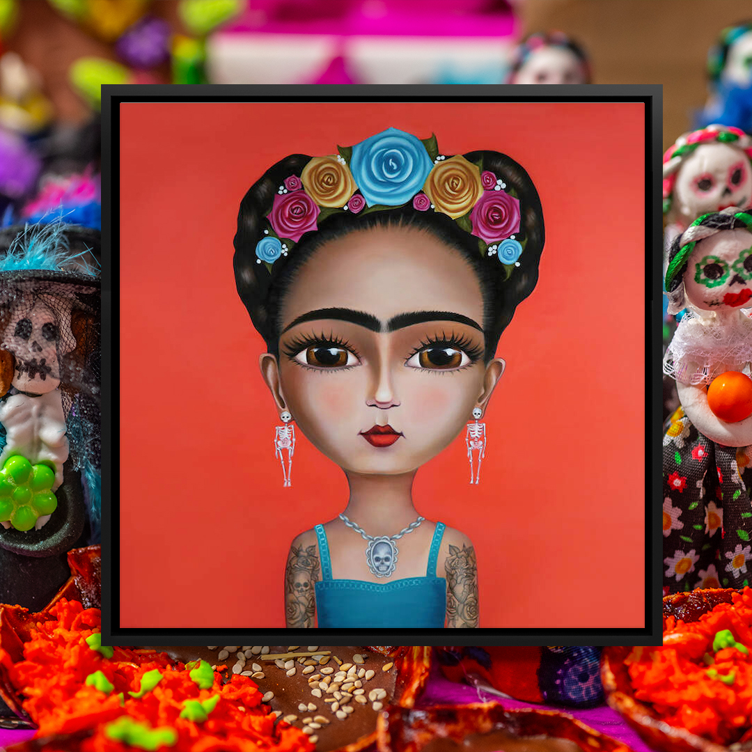 Doll-like image of Frida Kahlo wearing a blue, yellow and pink flower crown, skeleton earrings, a skull necklace, and with tattoos on her arms