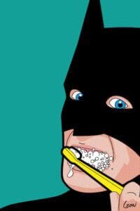 """Bat-Brush"" by Grégoire ""Léon"" Guillemin shows Bat Man brushing his teeth against a teal background."